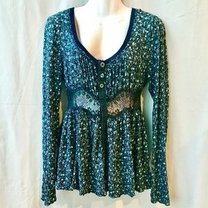 Free People Peplum Cardigan w Sheer Lace, Small